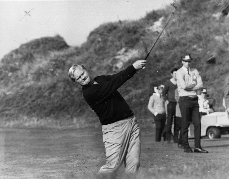 Jack Nicklaus early black and white playing
