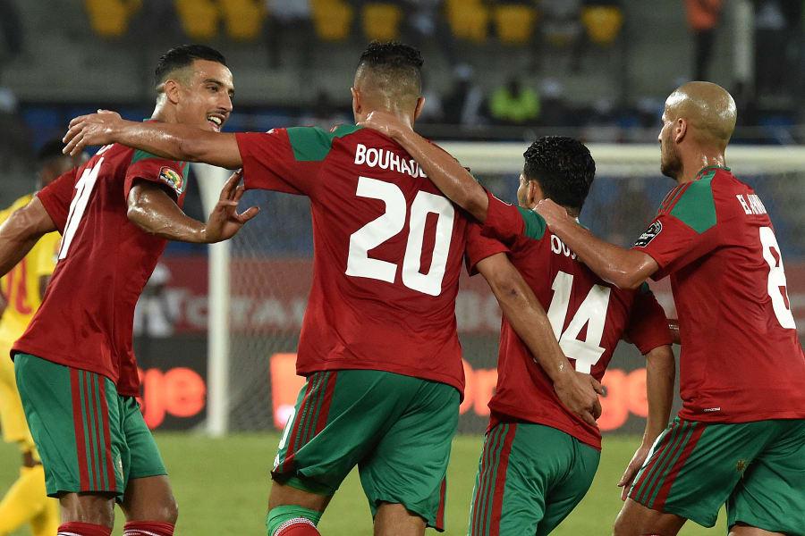Aziz Bouhaddouz morocco celebrates