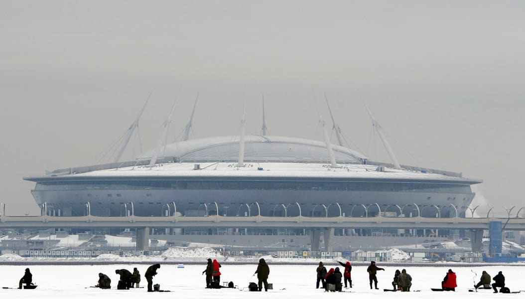 world cup 2018 krestovsky stadium zenit arena exterior ice fishing