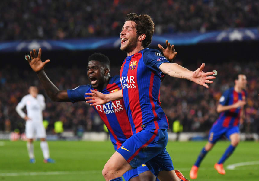 Sergi Roberto samuel umtiti barcelona psg champions league celebrations