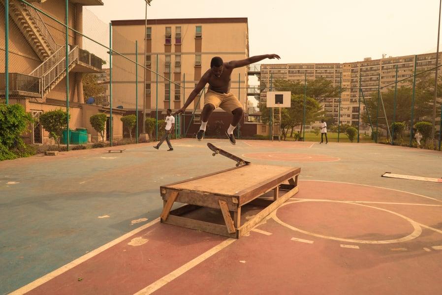 Skateboarding jump air Lagos
