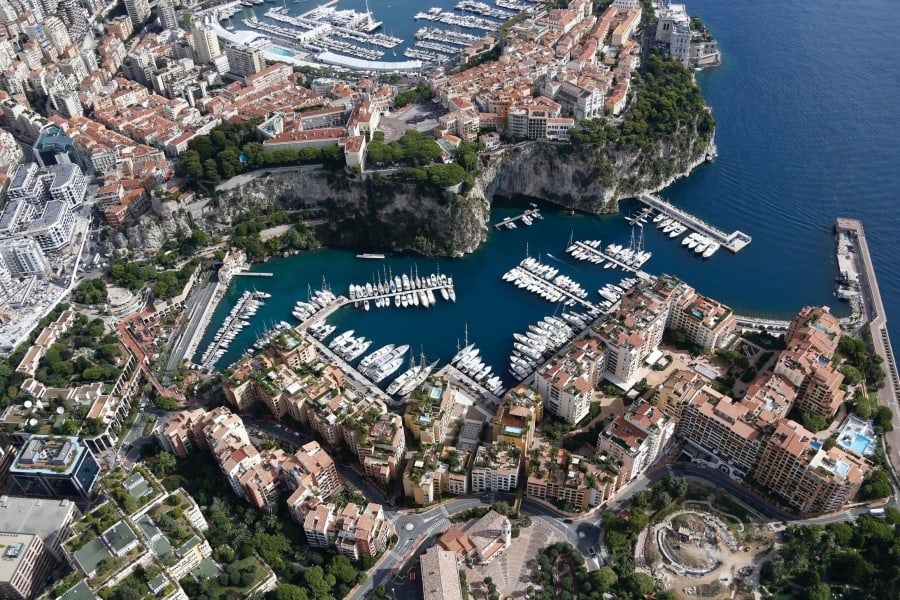 An aerial view of Monaco harbour