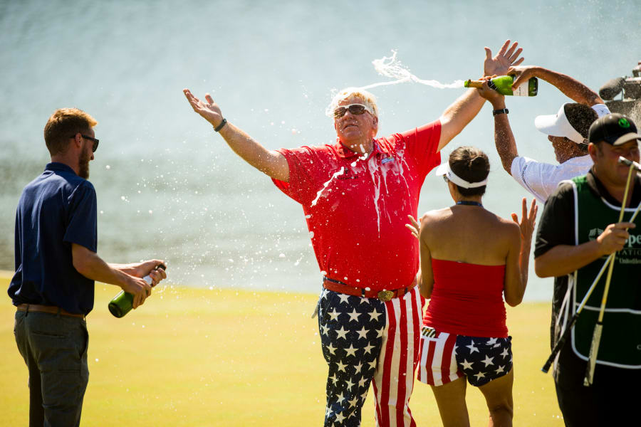 john daly sprayed with champagne