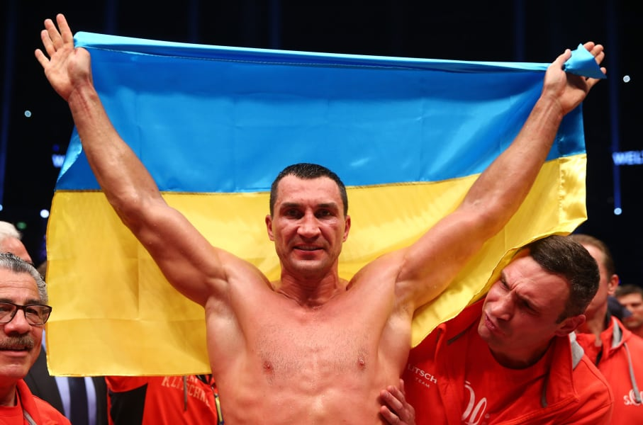 wladimir klitschko ukraine flag