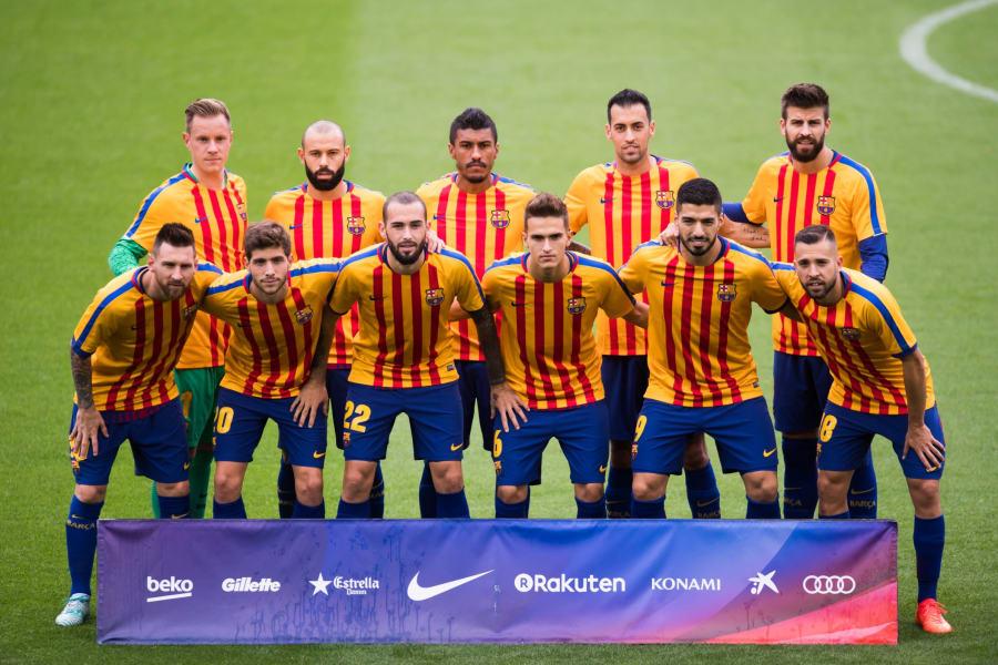 FC Barcelona Catalan colors warmup