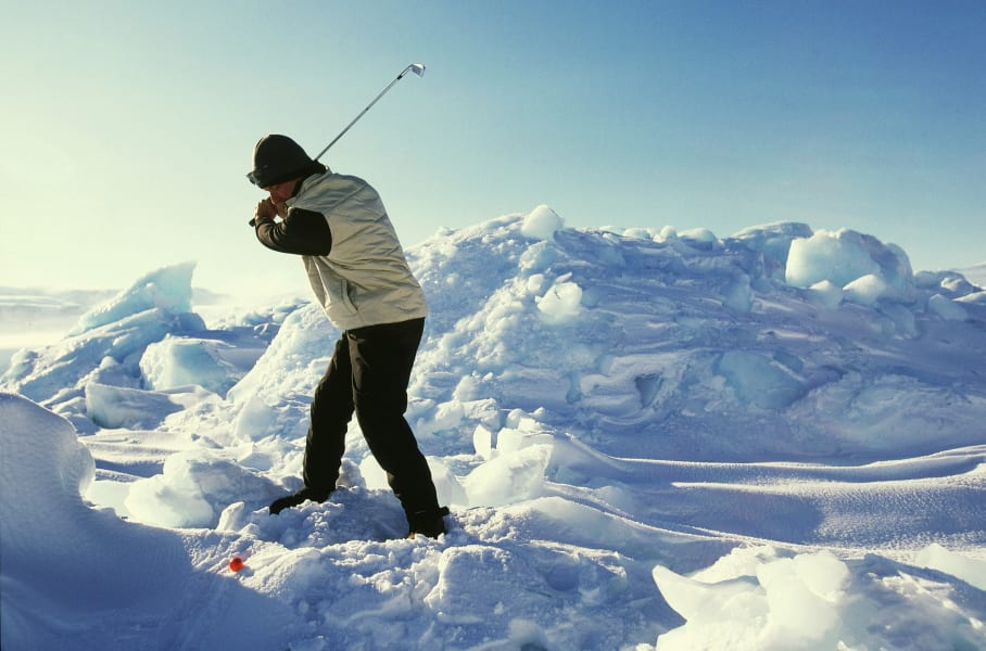Chip Thompson Drambuie World Ice Golf Championship in Uummannaq Greenland