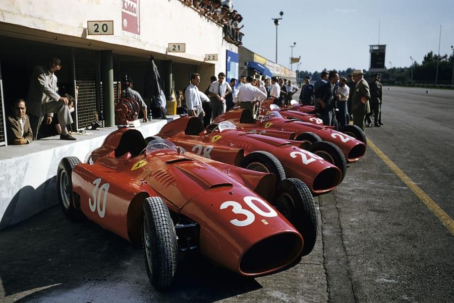 f1 ferrari cars in line