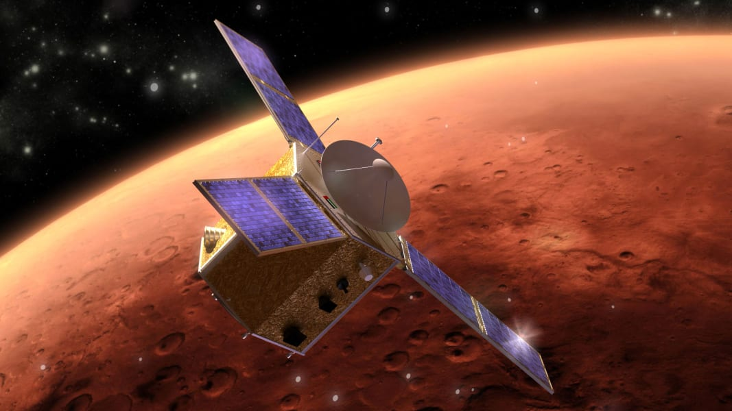emirates mars mission hope spacecraft render