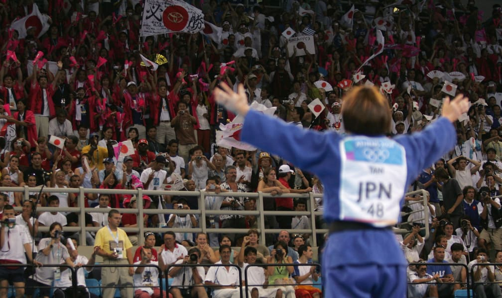 Ryoko Tani of Japan celebrates gold sydney 2000 judo