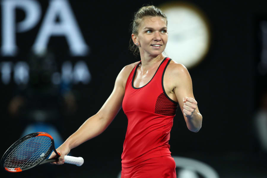 Halep fist pump