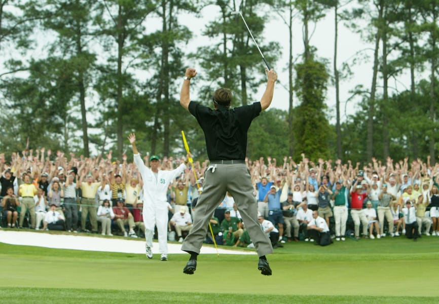 Phil Mickelson Masters jump 2004 Augusta