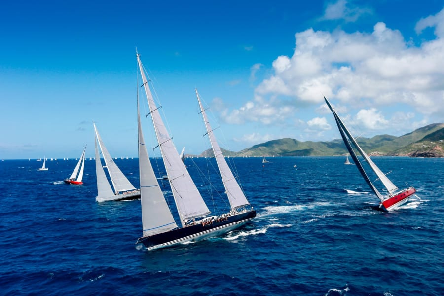 Antigua Sailing Week Sojana leading
