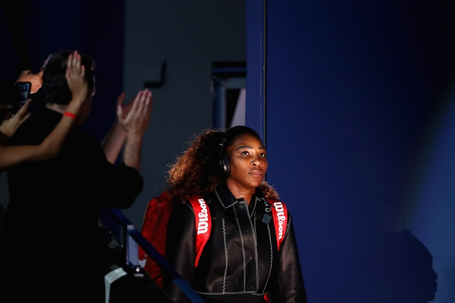 Serena Williams US OPen tennis outfit black bomber jacket