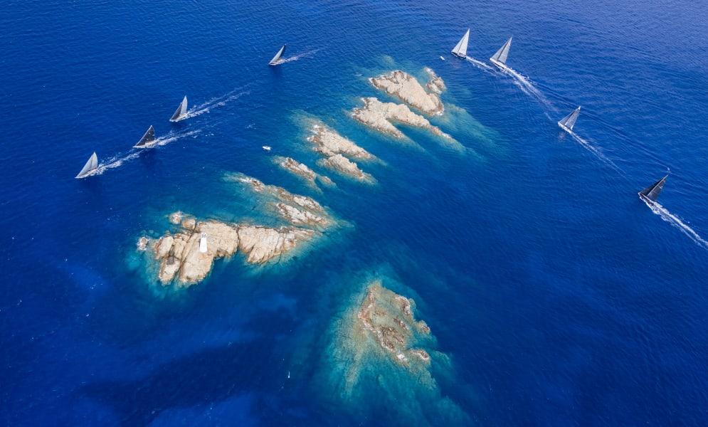 Maxi Yacht Rolex Cup Sardinia aerial rocks
