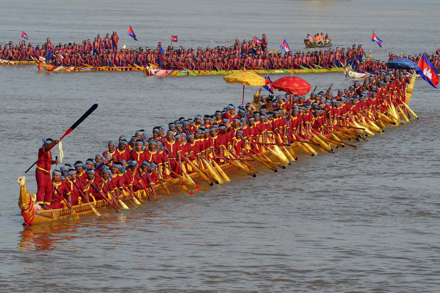 dragon boat on the mekong river in cambodia
