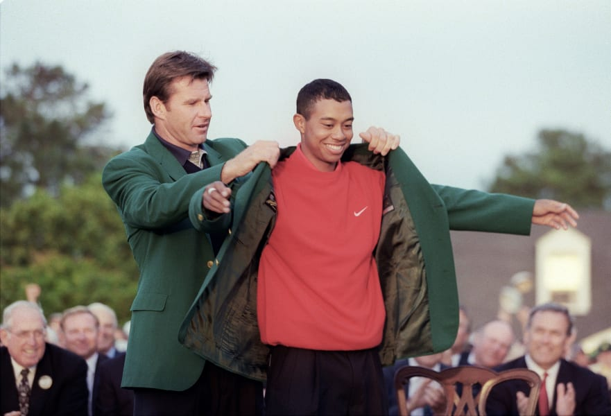 Masters photos A-Z Tiger Woods 1997 green jacket