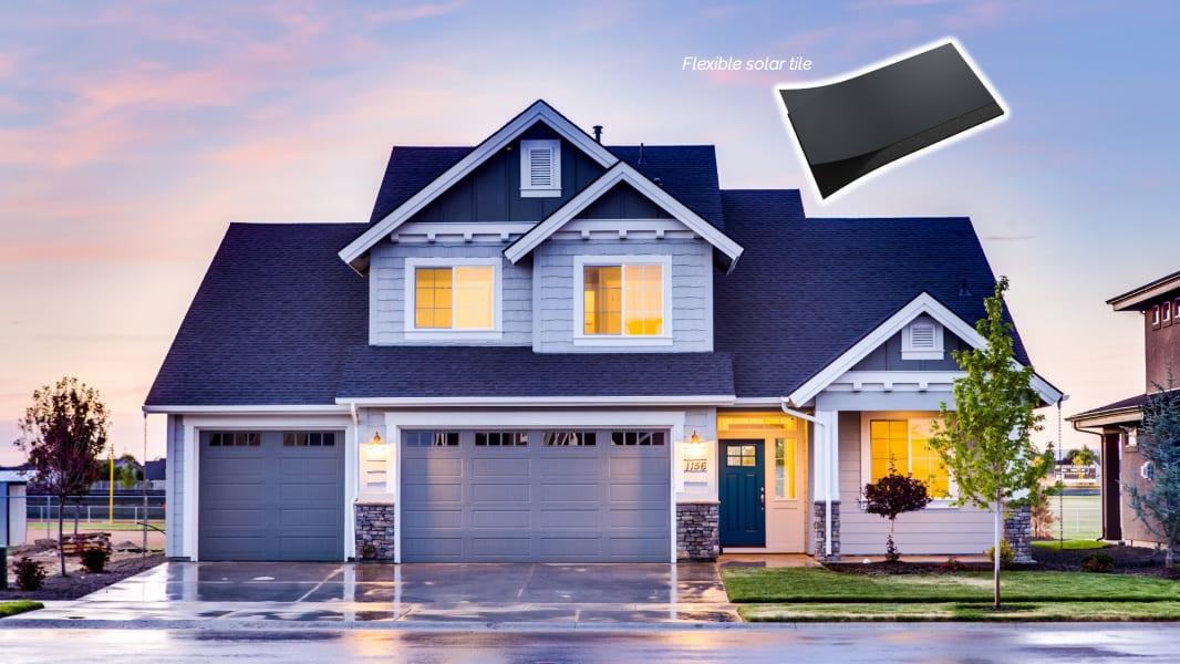 Swift Solar's roof shingle and house