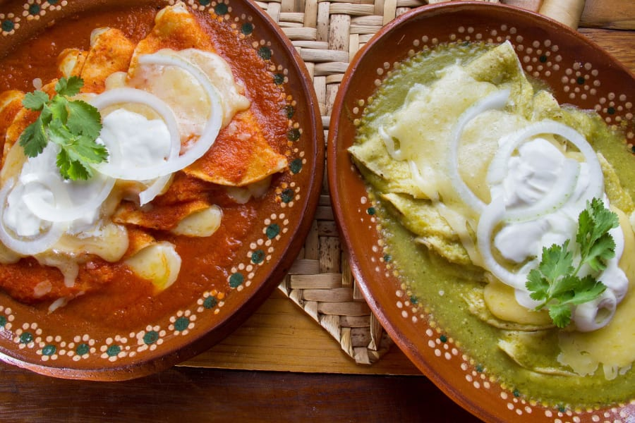 red and green enchiladas STOCK