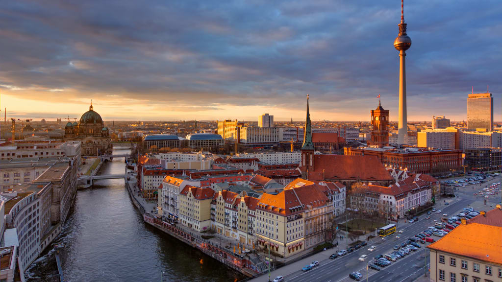 The Center Of Berlin With The Famous Television Tower At Sunset Home  C B Destinations Germany