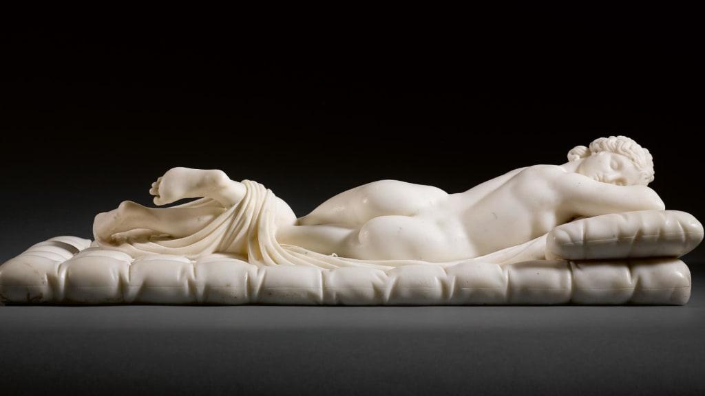 Sleeping Hermaphroditus White Marble Italian Circa 1800 Afrer The Antique Est