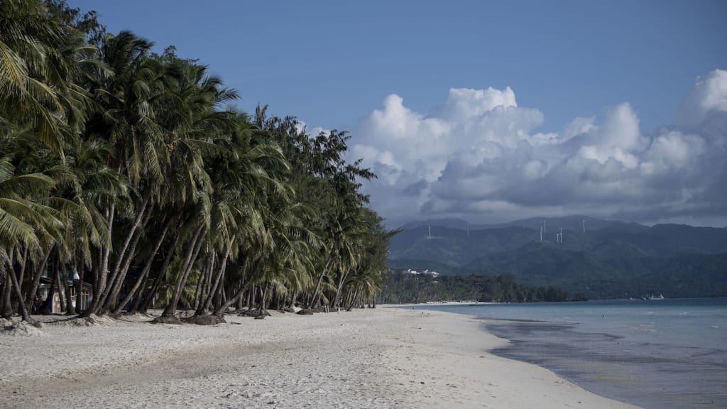 This general shot shows a beach on the Philippine island of Boracay on October 25,