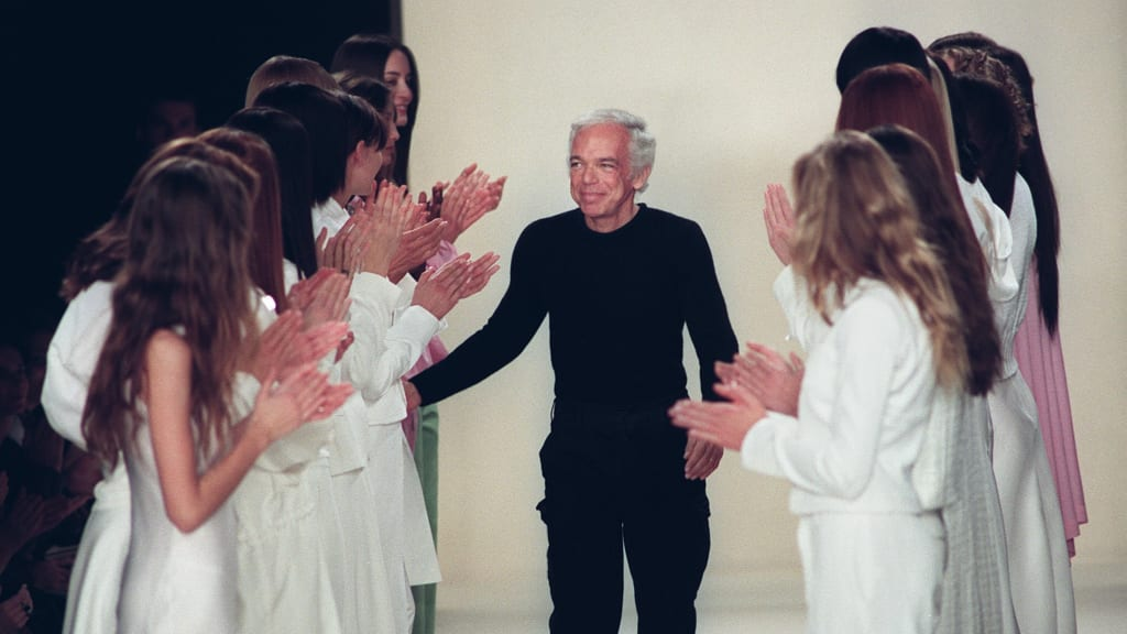 Designer Ralph Lauren Receives Applause From Models After His Fashion Show Spring Summer