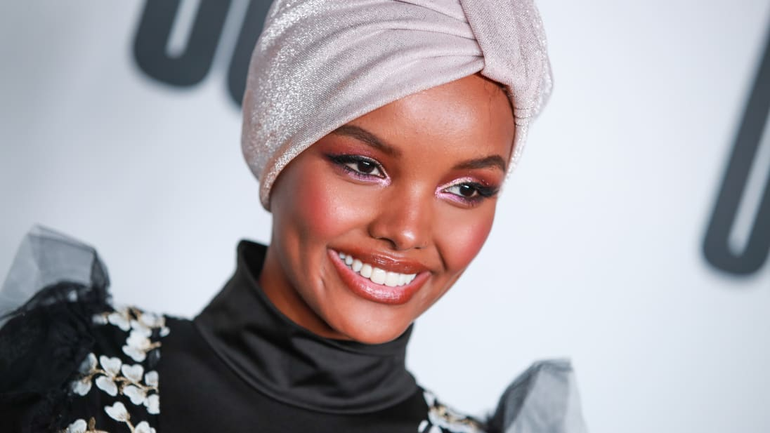 Halima Aden at the launch of Uoma Beauty in April 2019 in Los Angeles, California.