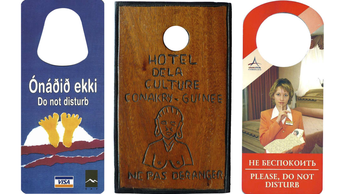Man's Collection of 15,000 Hotel Do Not Disturb Signs