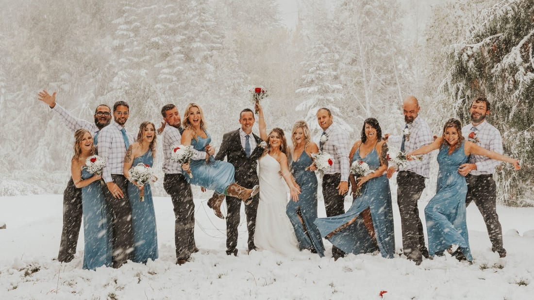 A freak snowstorm didn't stop Sean and Brittany Tuohy's wedding in Spokane, Washington.