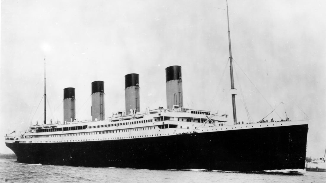 The RMS Titanic, a British passenger liner that sank in the North Atlantic Ocean in the early morning of 15 April 1912.