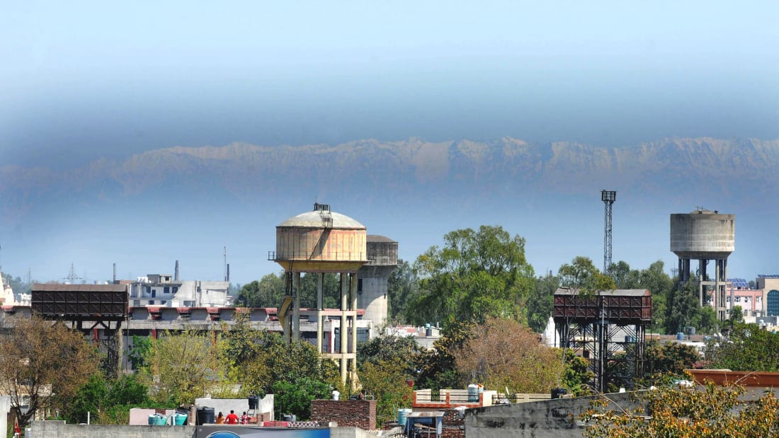 The Dhauladhar range of mountains is visible from the city due to a drop in pollution levels.