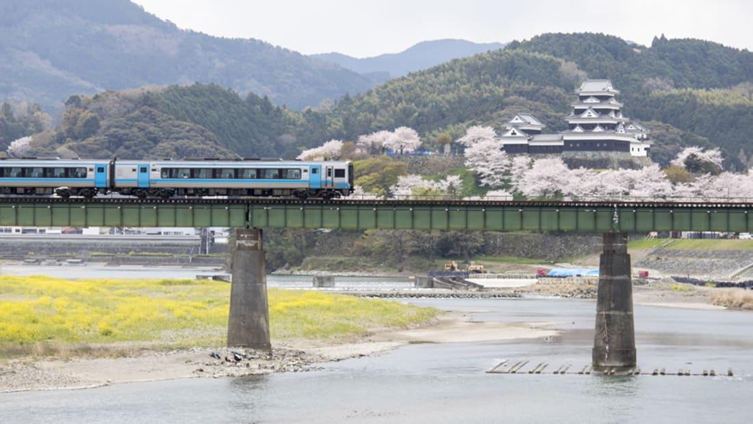 Ozu Castle Town Castle &Hiji River & Rail bridge