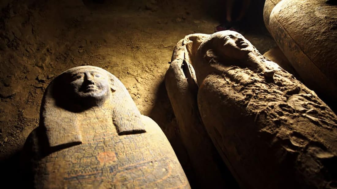 The coffins are so well-preserved that the original, detailed designs are still clearly visible.
