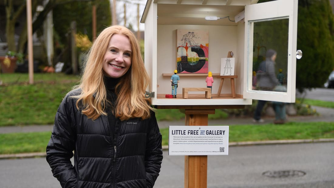 Stacy Milrany and her Little Free Art Gallery.