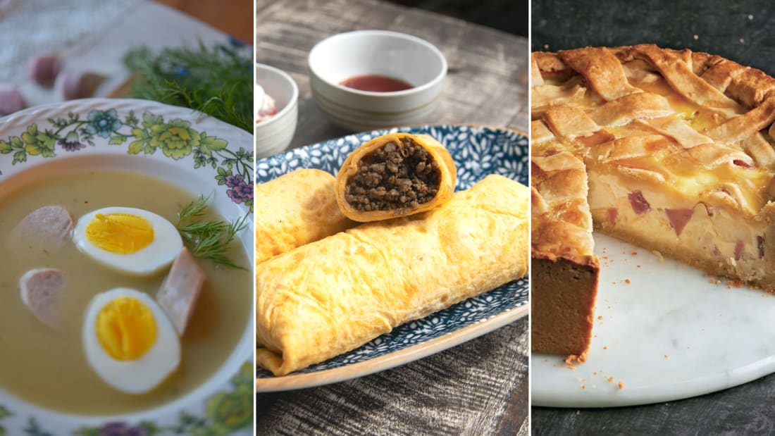 Celebrate Easter with these festive dishes (from left): Polish żurek, or sour rye soup; Singaporean beef murtabak; and Italian pizza rustica.