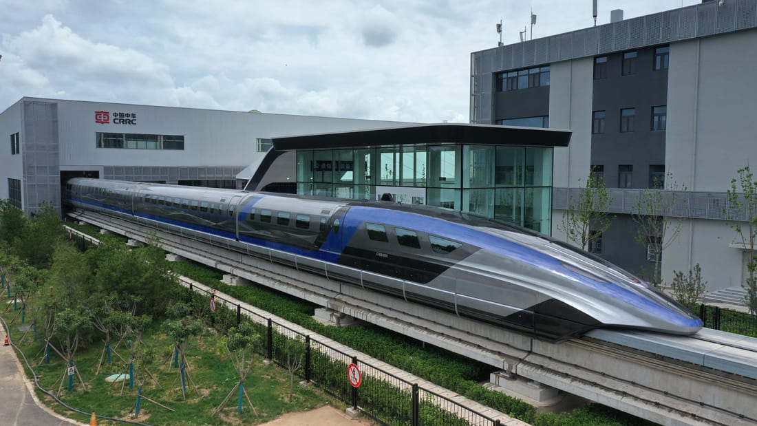 QINGDAO, CHINA - JULY 20, 2021 - A view of China's 600kmph high-speed maglev transportation system in Qingdao, Shandong Province, China, July 20, 2021. It is the world's first high-speed maglev transport system designed to reach speeds of 600 kilometers per hour. (Photo credit should read Costfoto/Barcroft Media via Getty Images)