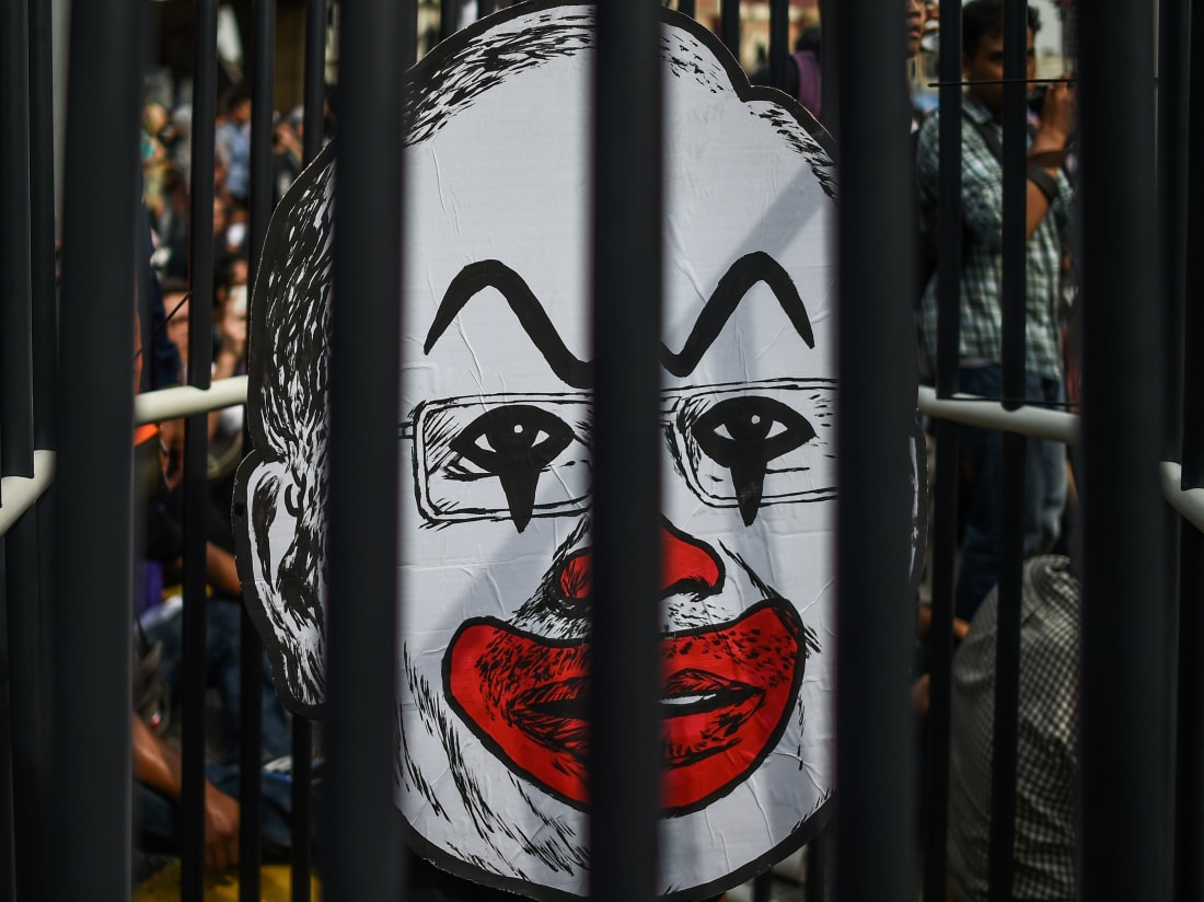 A caricature of Malaysian Prime Minister by artist Fahmi Reza. The artwork almost landed Fahmi in prison.