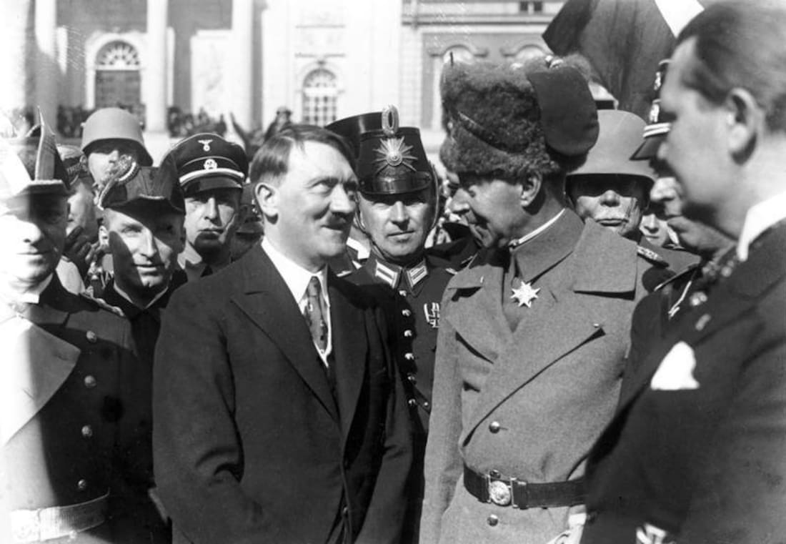The former Crown Prince Wilhelm pictured with Hitler.
