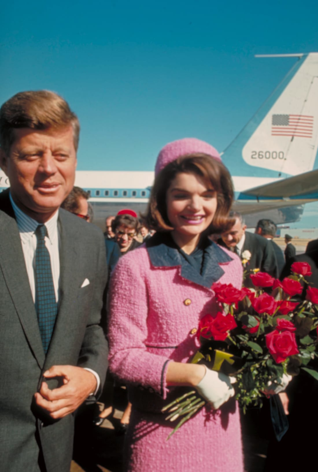 President John F. Kennedy and his wife Jackie on November 22, 1963,  just after their arrival at the airport for the fateful drive through Dallas.