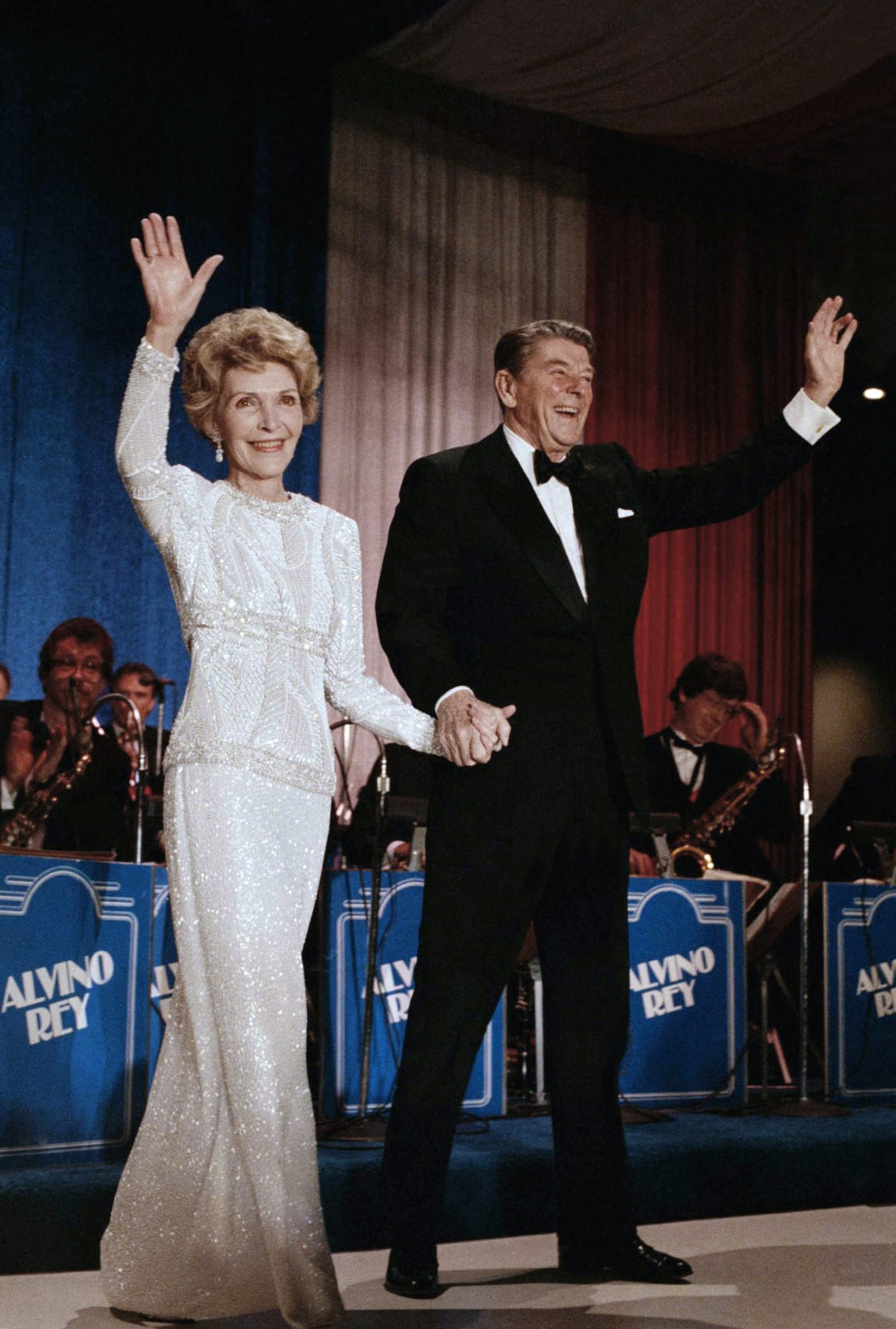 Nancy and Ronald Reagan arrive at the inaugural ball in the Washington Hilton on January 21, 1985.