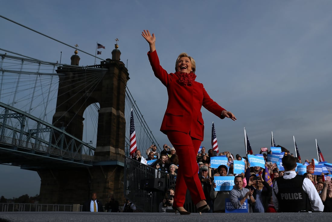 Hillary Clinton greets supporters during a rally in Cincinnati, Ohio, for her 2016 presidential run.