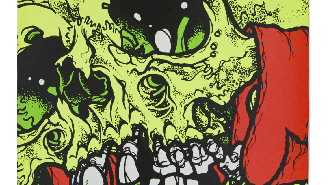 The sleeve for Stompede an EP by Tokyo band Saigan Terror  was designed by American artist Pushead -- the same man behind the Metallicas merchandise