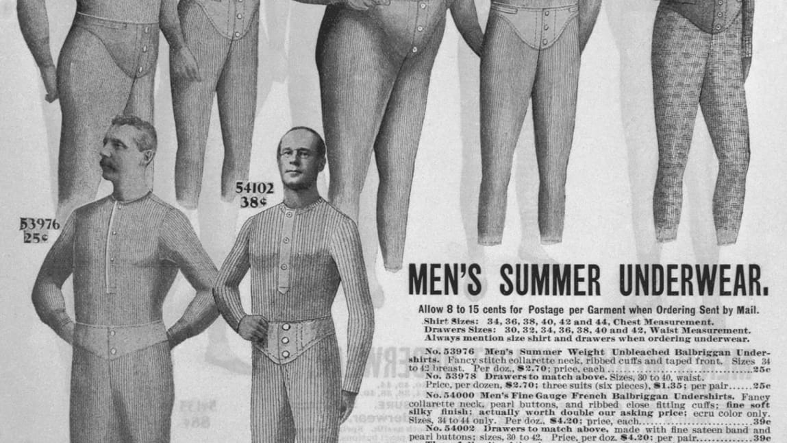 (Original Caption) Page of Sear's catalogue, advertising men's summer underwear. Undated. BPA#2 5097, 5098