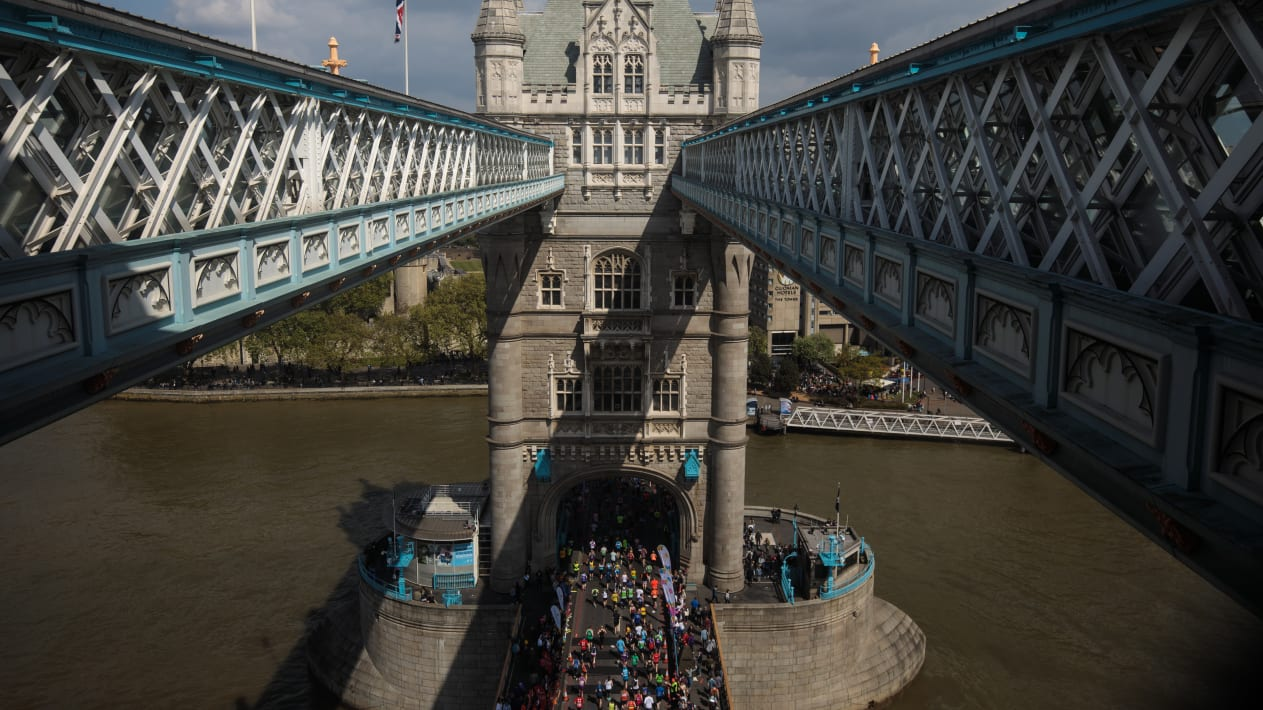 Tower Bridge, pictured here during the  2017  London Marathon, is one of the world's most famous bridges.