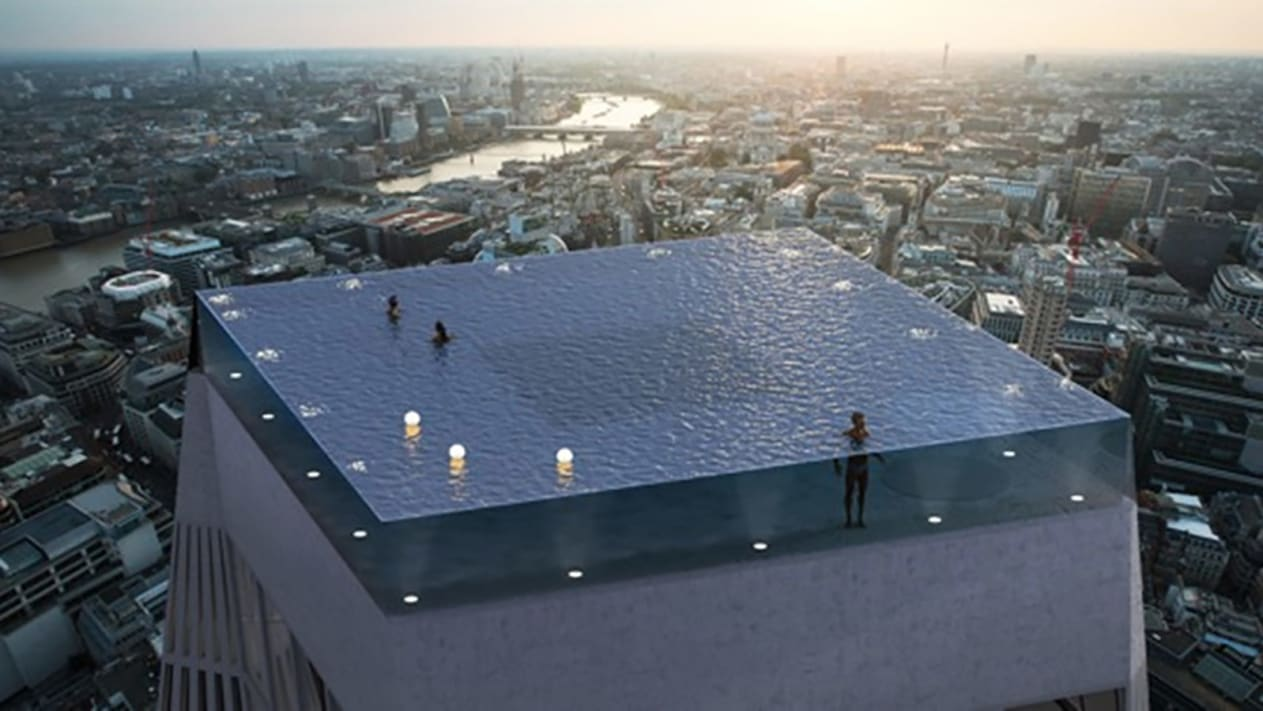 New designs have been unveiled for an infinity pool that would sit on top of a 55 storey skyscraper, with 360-degree views of London's skyline.