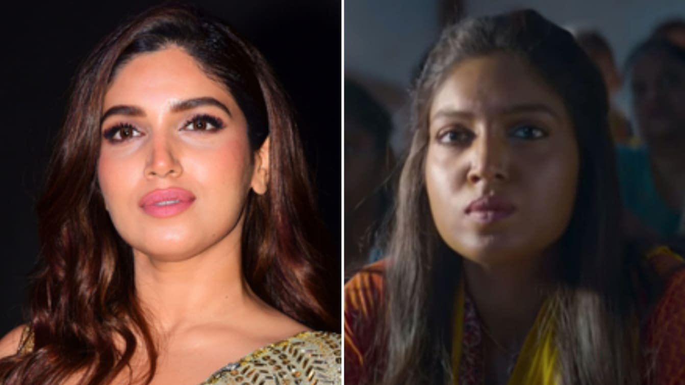 "Actress Bhumi Pednekar before and after her skin was darkened to portray her character in the 2019 movie, ""Bala."" ​"