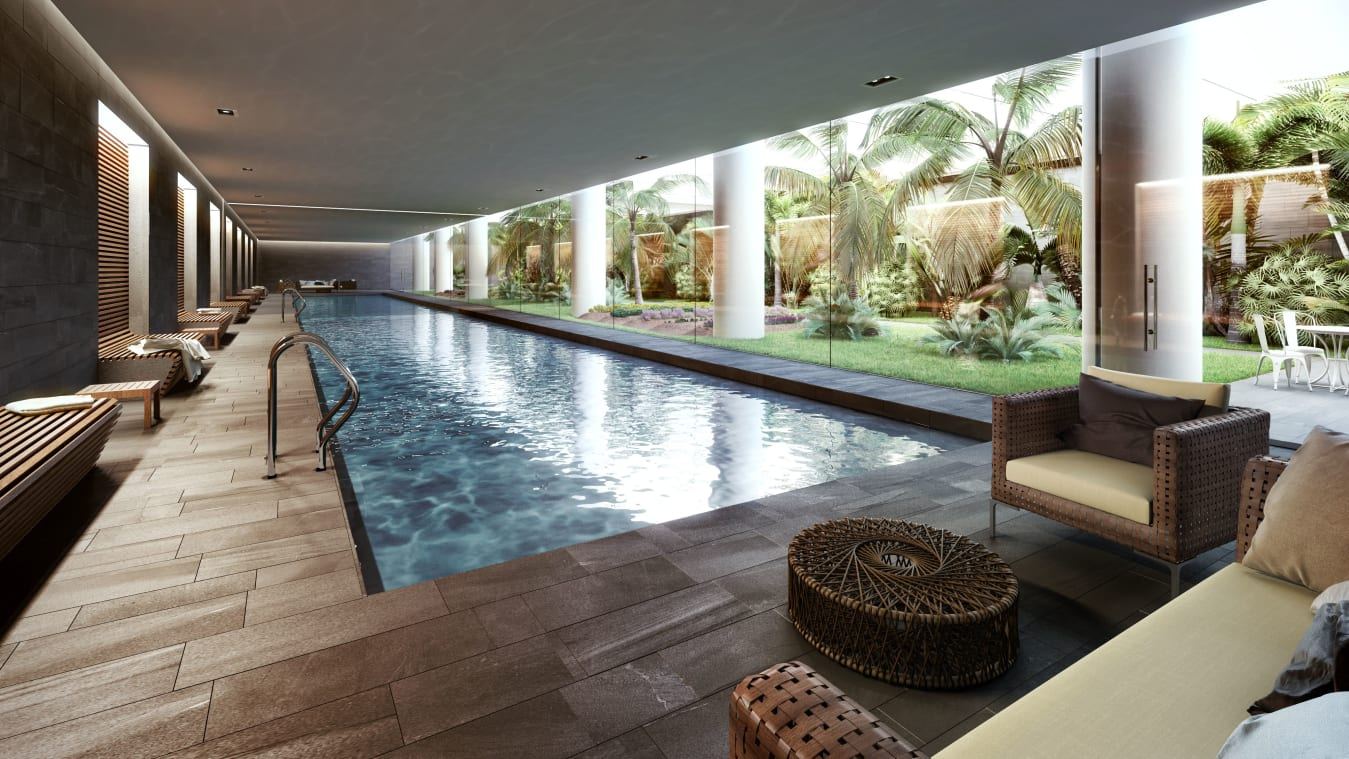 Planned amenities include a pool and an underground garden that features simulated natural light.