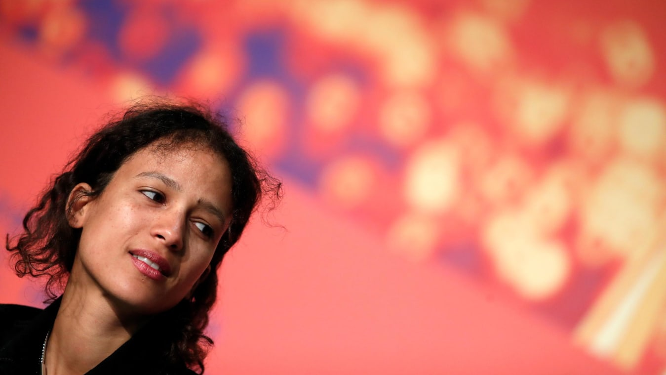 """CANNES, FRANCE - MAY 17: Mati Diop attends the """"Atlantics (Atlantique)"""" Press Conference during the 72nd annual Cannes Film Festival on May 17, 2019 in Cannes, France. (Photo by Ian Langsdon/EPA-EFE/Pool/Getty Images)"""