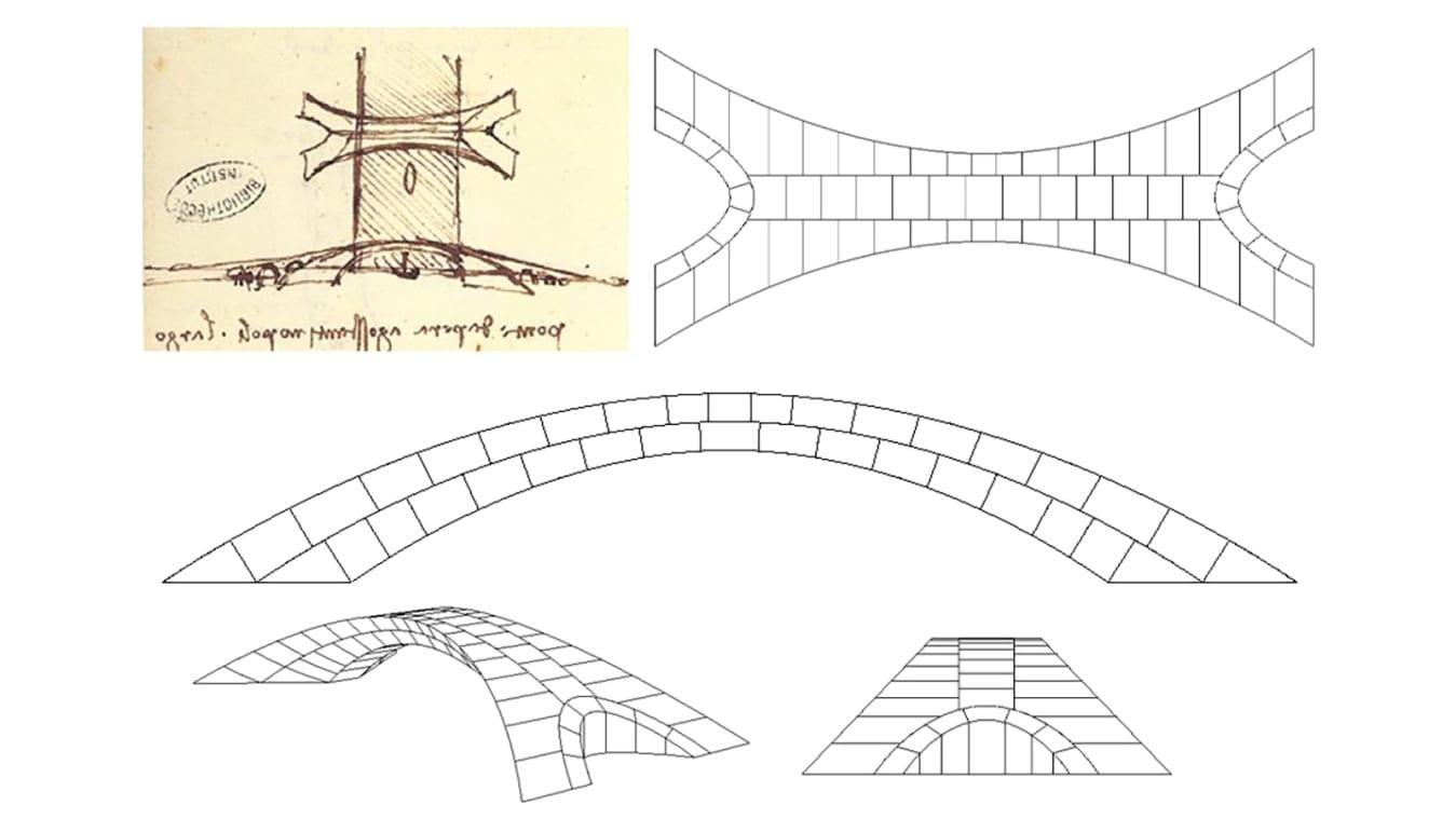 Леонардо да Винчи набросал мост в своей записной книжке (вверху слева), а современные инженеры дополнили дизайн масштабной моделью (справа).
