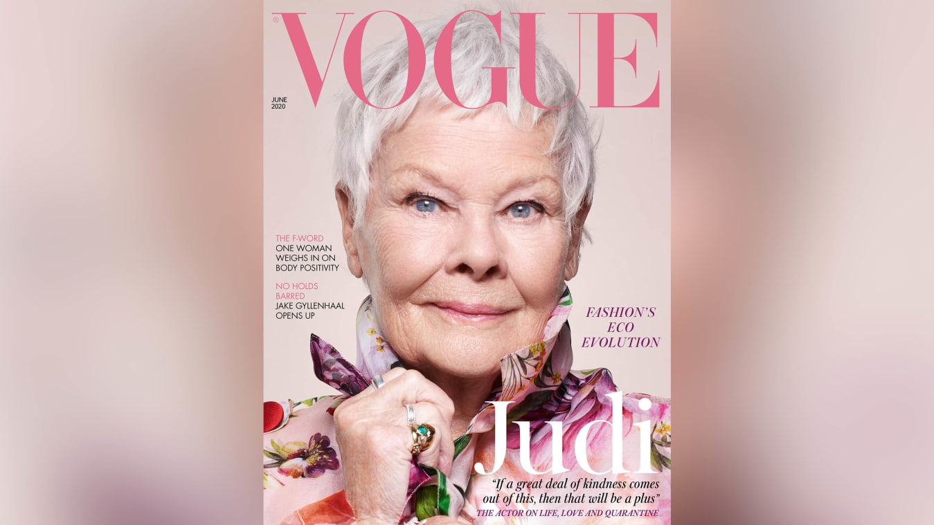 Dench features on the cover of the June issue of British Vogue.